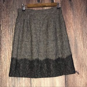 CLASSIQUES ENTIER BLACK AND TAN SIZE 0 LINED SKIRT